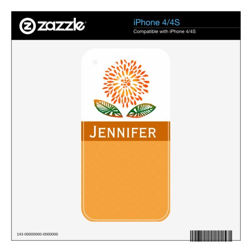 Cute Orange Mum Decal For iPhone 4