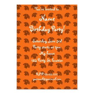 Cute orange mushroom pattern 5x7 paper invitation card