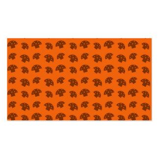 Cute orange mushroom pattern business cards