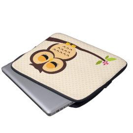 Cute Orange Owl Laptop Computer Sleeves