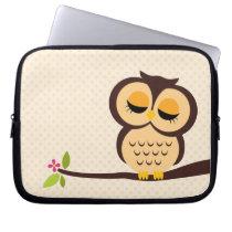 Cute Orange Owl Laptop Sleeve