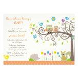 Cute Orange Owl Neutral Baby Shower Invitations Personalized Invitations