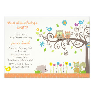 Cute Orange Owl Neutral Baby Shower Invitations Personalized Invitations