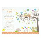Cute Orange Owl Neutral Baby Shower Invitations