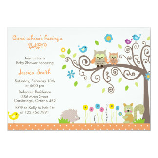 Cute Orange Owl Neutral Baby Shower Invitations