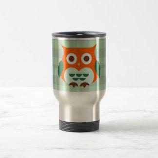 Cute Orange Owl on Green Plaid Background 15 Oz Stainless Steel Travel Mug