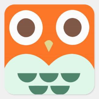 Cute Orange Owl on Green Plaid Background Square Sticker