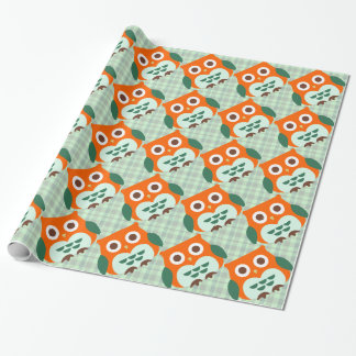 Cute Orange Owl on Green Plaid Background Wrapping Paper