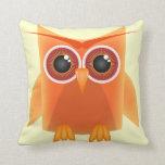 Cute Orange Owl Reversible Pillow