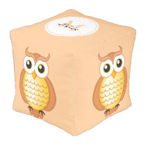 Cute Orange Owls with Monogram Pouf