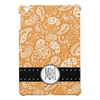 Cute Orange Paisley Pattern with Initials Cover For The iPad Mini