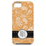 Cute Orange Paisley Pattern with Personalization iPhone 5 Cases
