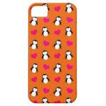 Cute orange penguin hearts pattern iPhone 5 case
