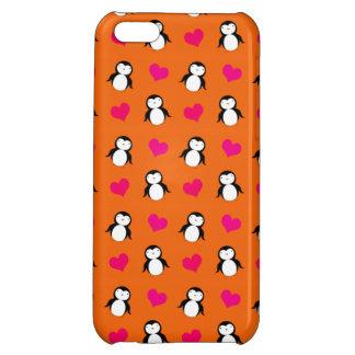 Cute orange penguin hearts pattern iPhone 5C cover