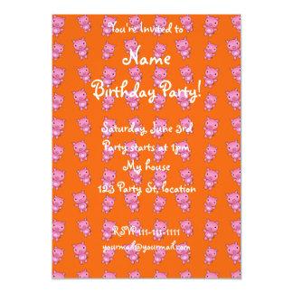 Cute orange pig pattern 5x7 paper invitation card