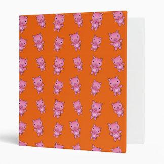 Cute orange pig pattern vinyl binders