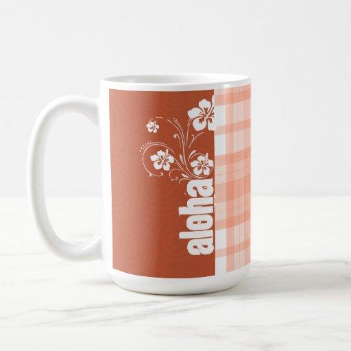 Cute Orange Plaid; Aloha Coffee Mugs