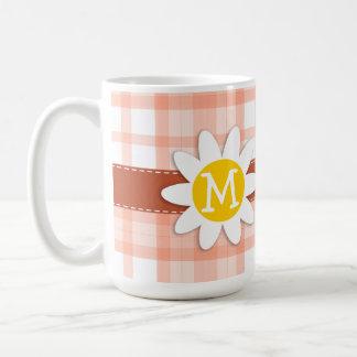 Cute Orange Plaid; Daisy Mug
