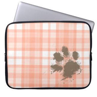 Cute Orange Plaid; Funny Dog Laptop Sleeve