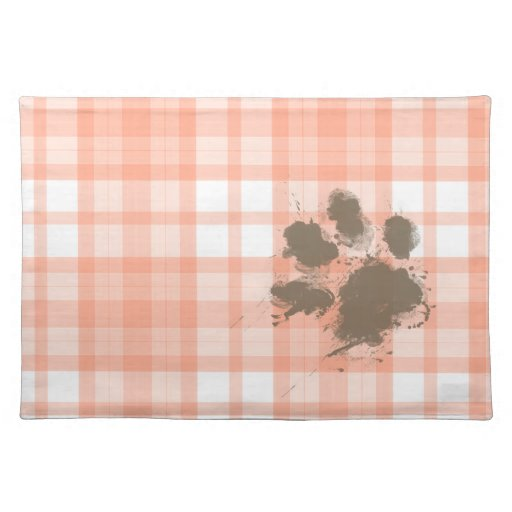 Cute Orange Plaid; Funny Dog Placemat