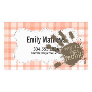 Cute Orange Plaid; Funny Mom Business Card