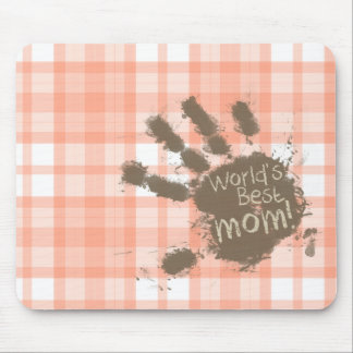 Cute Orange Plaid; Funny Mom Mouse Pad