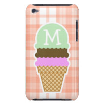 Cute Orange Plaid; Ice Cream Cone iPod Touch Case