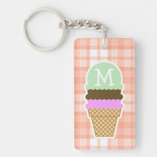 Cute Orange Plaid; Ice Cream Cone Keychain