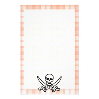 Cute Orange Plaid Jolly Roger Personalized Stationery