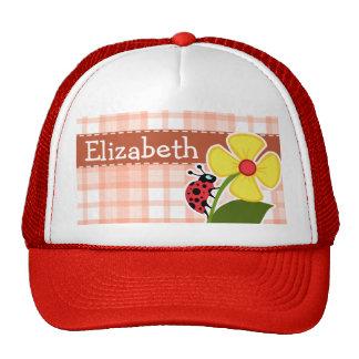 Cute Orange Plaid Ladybug Trucker Hat
