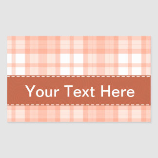 Cute Orange Plaid Pattern Rectangular Sticker