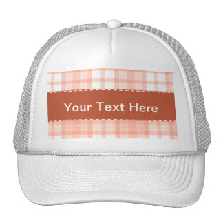 Cute Orange Plaid Pattern Trucker Hat