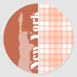 Cute Orange Plaid; statue of liberty Classic Round Sticker