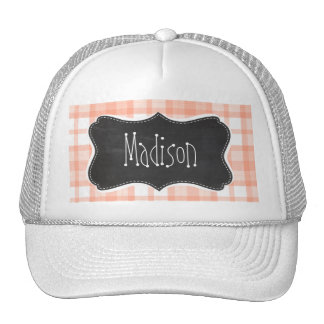 Cute Orange Plaid; Vintage Chalkboard Trucker Hats