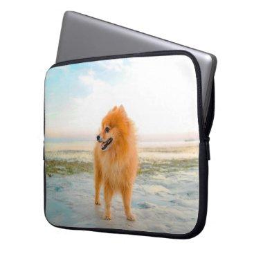 Beach Themed Cute Orange Pomeranian on the Beach Laptop Sleeve