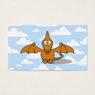 Cute Orange Pterodactyl Cartoon Business Card