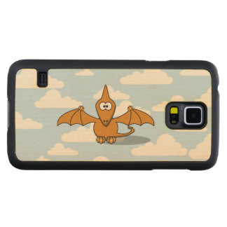 Cute Orange Pterodactyl Cartoon Carved Maple Galaxy S5 Case