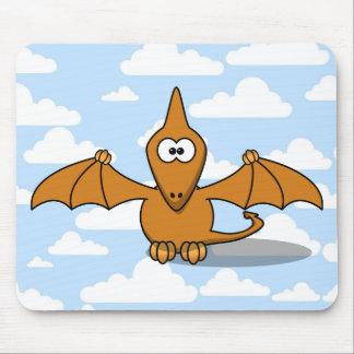 Cute Orange Pterodactyl Cartoon Mouse Pad