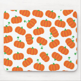 Cute Orange Pumpkin Patch Green Stem Autumn Design Mouse Pad