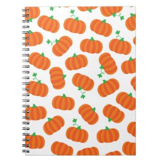 Cute Orange Pumpkin Patch Green Stem Autumn Design Note Books
