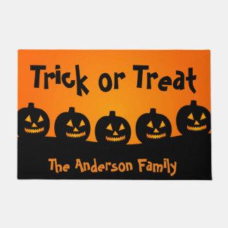 Cute Orange Pumpkins Trick or Treat, Halloween Doormat