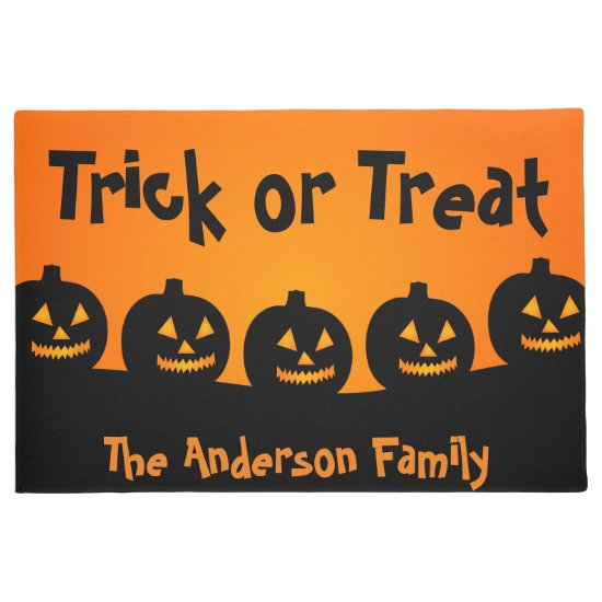 Cute Orange Pumpkins Trick or Treat, Halloween Doormat