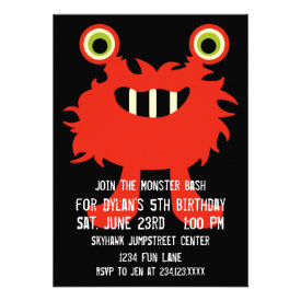 Cute Orange Red Monster Birthday Party Invitations