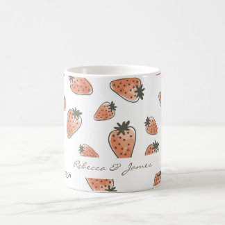 CUTE ORANGE RED WATERCOLOUR STRAWBERRIES MONOGRAM COFFEE MUG