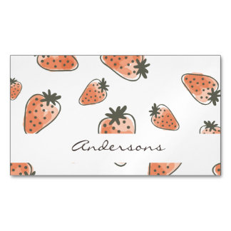 CUTE ORANGE RED WATERCOLOUR STRAWBERRIES MONOGRAM MAGNETIC BUSINESS CARD