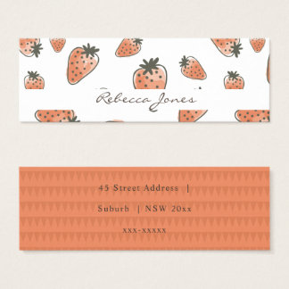 CUTE ORANGE RED WATERCOLOUR STRAWBERRIES MONOGRAM MINI BUSINESS CARD