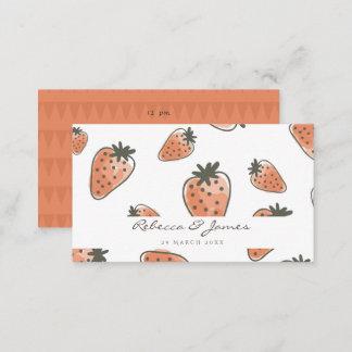 CUTE ORANGE RED WATERCOLOUR STRAWBERRIES wedding Business Card