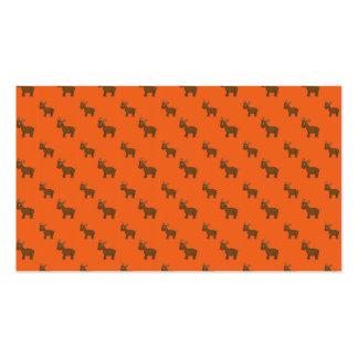 Cute orange reindeer pattern business cards