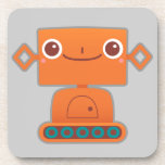 Cute Orange Robot on Grey Drink Coasters