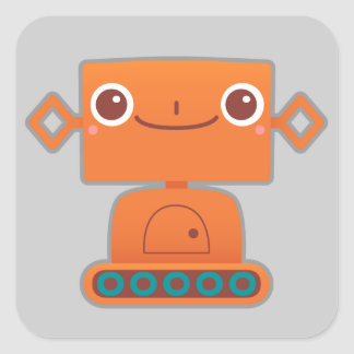 Cute Orange Robot on Grey Square Sticker